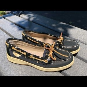 Black and gold Sperry